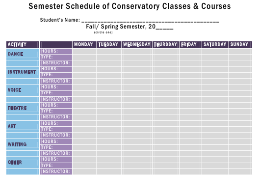 Semester Schedule Of Conservatory Classes Courses Template Download Printable Pdf Templateroller
