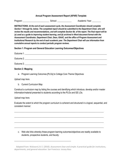 """Annual Program Assessment Report (Apar) Template - Jossey-Bass"" Download Pdf"