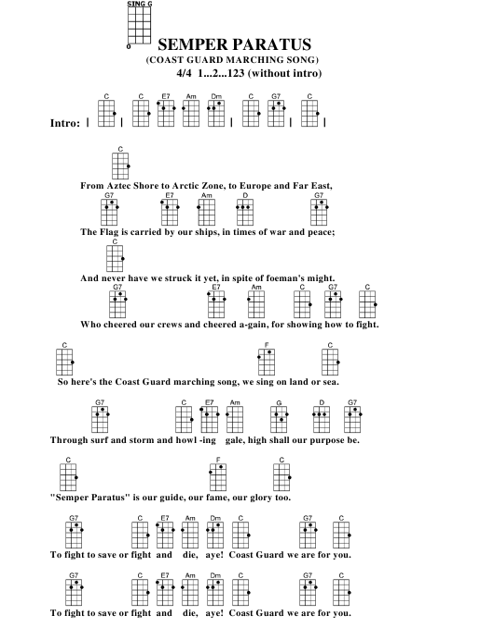 picture regarding Printable Ukulele Chord Chart named Semper Paratus (Coastline Defend Marching Music) Ukulele Chord