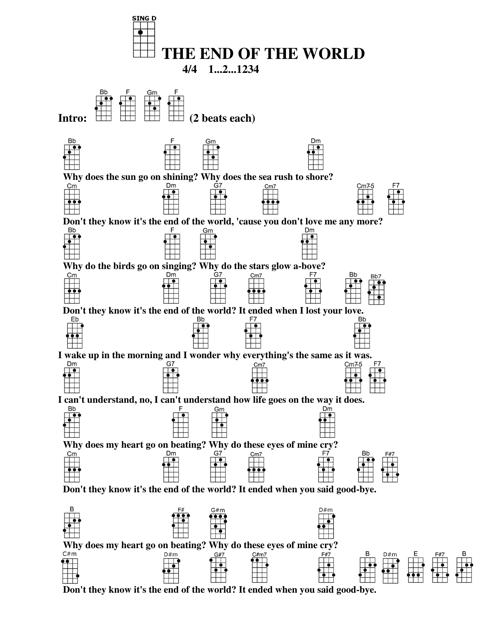 End Of The World Ukulele Chord Chart Download Printable Pdf