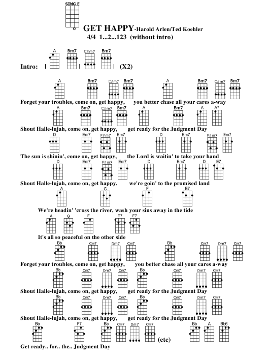 Harold Arlented Koehler Get Happy Ukulele Chord Chart Download