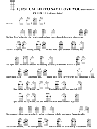 Stevie Wonder - I Just Called to Say I Love You Ukulele Chord Chart