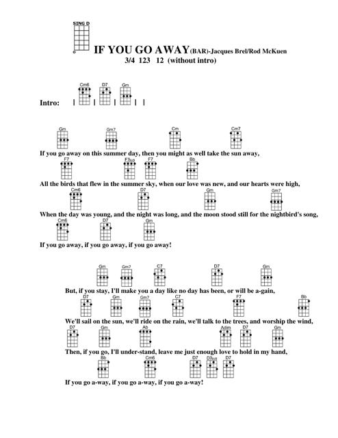 """Jacques Brel/Rod Mckuen - if You Go Away Ukulele Chord Chart"" Download Pdf"