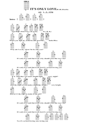 The Beatles - It's Only Love(Bar) Ukulele Chord Chart
