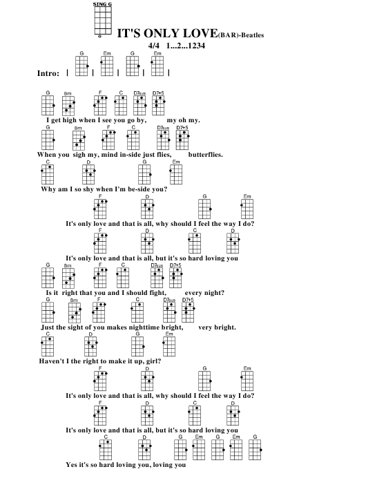 The Beatles Its Only Lovebar Ukulele Chord Chart Download