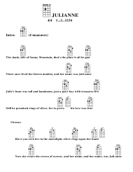 Julianne Ukulele Chord Chart