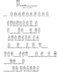 Irving Berlin - Lazy (Bar) Ukulele Chord Chart