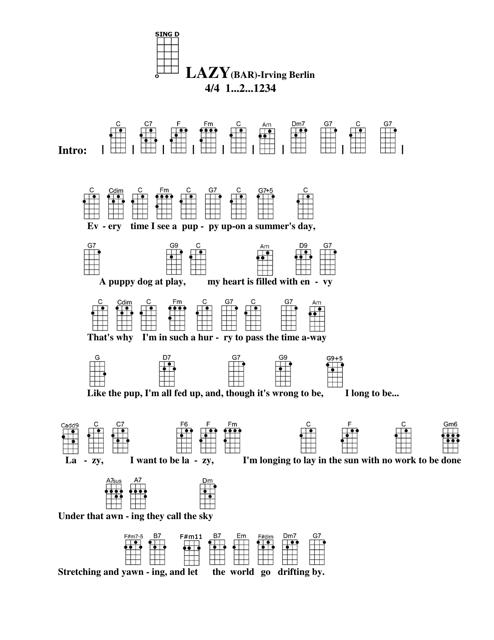 Irving Berlin Lazy Bar Ukulele Chord Chart Download Printable