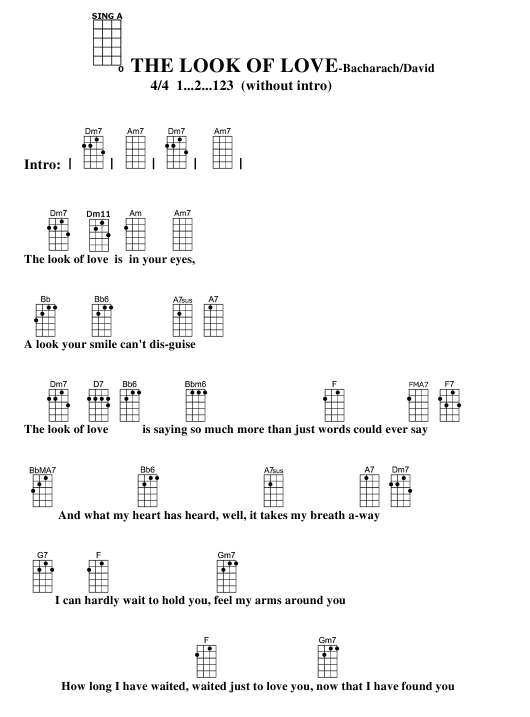 Bacharachdavid The Look Of Love Ukulele Chord Chart Download