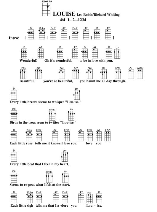 Leo Robinrichard Whiting Louise Ukulele Chord Chart Download