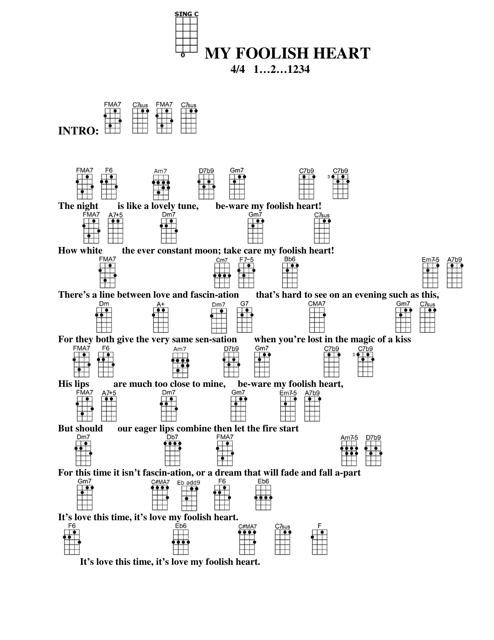 My Foolish Heart Ukulele Chord Chart Download Printable PDF