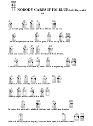 Harry Akst - Nobody Cares if I'm Blue(Bar) Ukulele Chord Chart