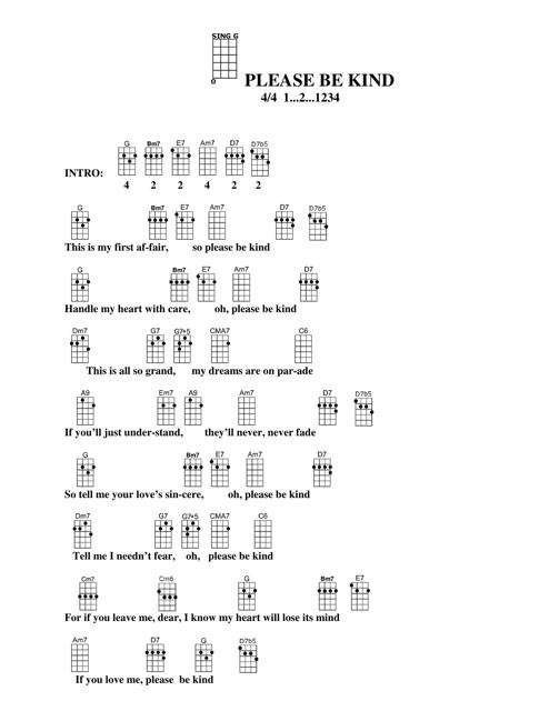 Please Be Kind Ukulele Chord Chart Download Printable Pdf