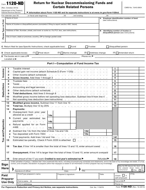 IRS Form 1120-ND  Printable Pdf