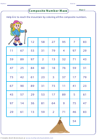 """Composite Number Maze Worksheet With Answer Key"""