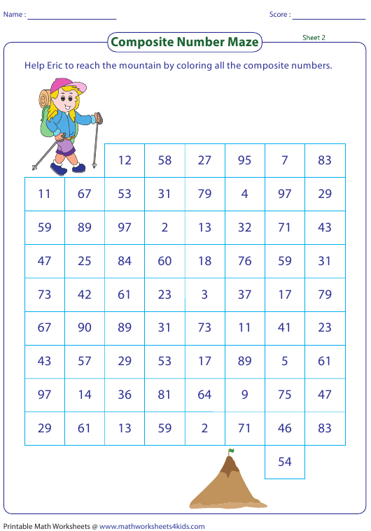 """""""Composite Number Maze Worksheet With Answer Key"""" Download Pdf"""