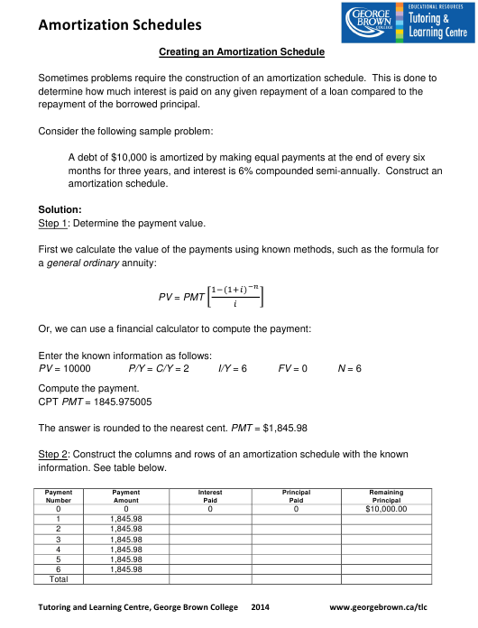 creating an amortization schedule worksheet with answers tutoring