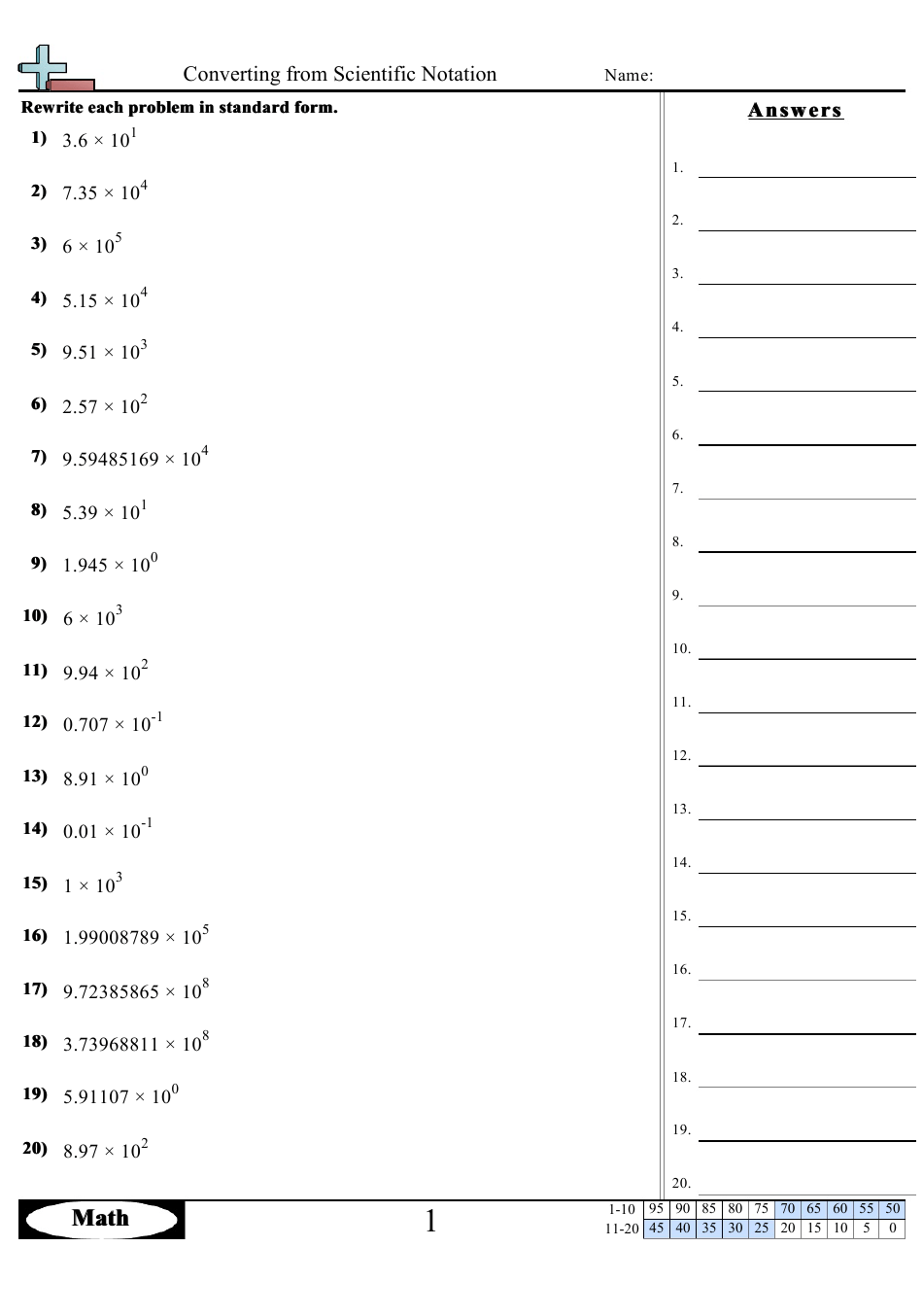 Converting From Scientific Notation Worksheet With Answers ...
