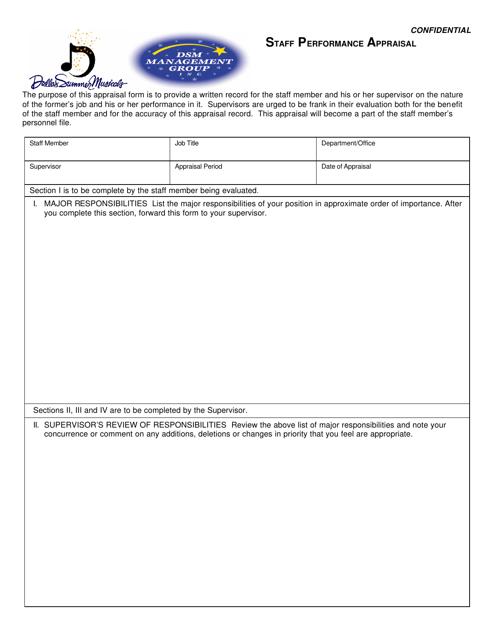 """Staff Performance Appraisal Form - Dallas Summer Musicals"" Download Pdf"