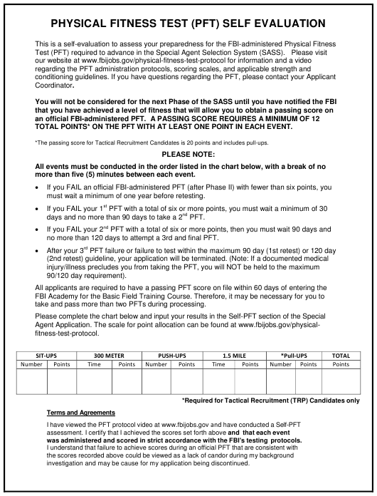 """""""Physical Fitness Test (Pft) Self Evaluation Form"""" Download Pdf"""