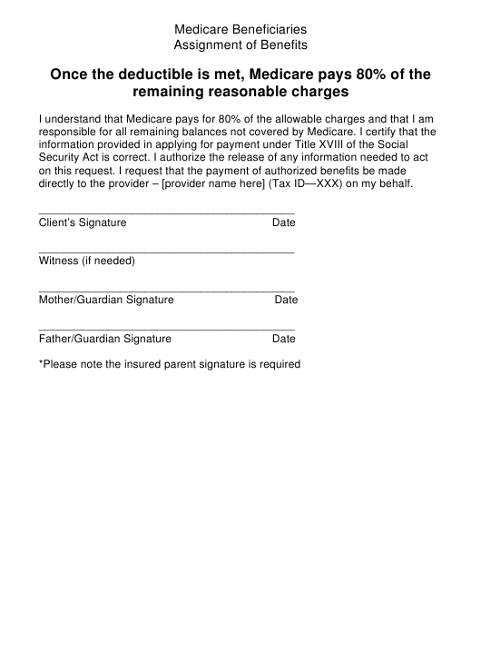 Medicare Beneficiaries Assignment Of Benefits Form Download