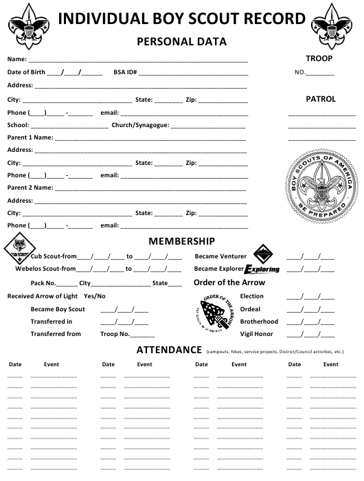 Individual Boy Scout Record Form Download Pdf