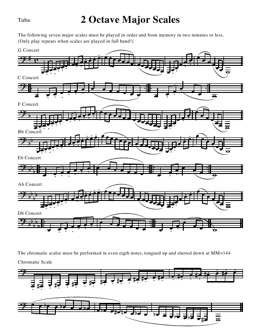 """Tuba 2 Octave Major Scale Sheet"" Download Pdf"