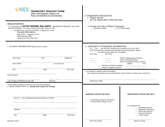 """Transcript Request Form - New Jersey City University"" - New Jersey Download Pdf"