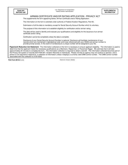 FAA Form 8610-2 Fillable Pdf
