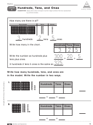 Hundreds, Tens, and Ones Worksheet - Lesson 3