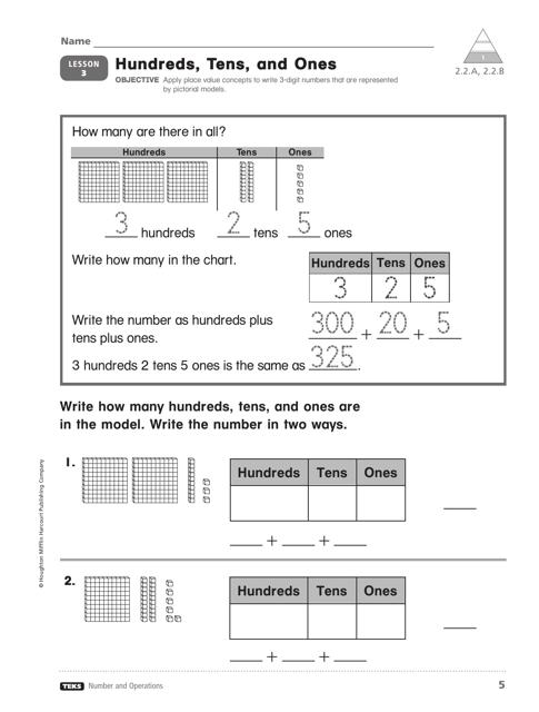 Hundreds, Tens, and Ones Worksheet - Lesson 3 Download