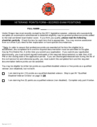 Veterans' Points Form - Scored Exam Positions - Oregon