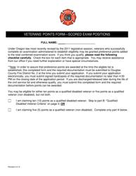 """Veterans' Points Form - Scored Exam Positions"" - Oregon"