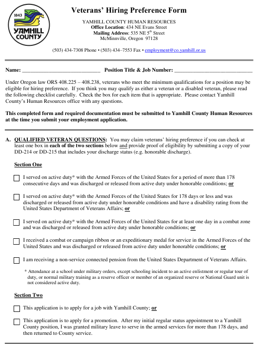 Veterans' Hiring Preference Form - Yamhill County, Oregon Download Pdf