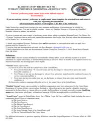 """Veterans' Preference Form"" - Klamath County, Oregon"
