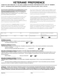 Veterans' Preference Form - City of Barnum, Minnesota