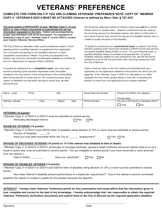 Veterans' Preference Form - City of Barnum, Minnesota Download Pdf