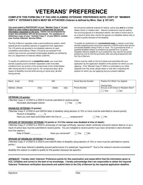 Veterans' Preference Form - City of Barnum, Minnesota Download Pdf