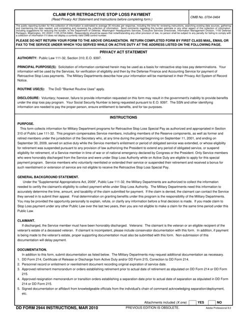 DD Form 2944  Printable Pdf