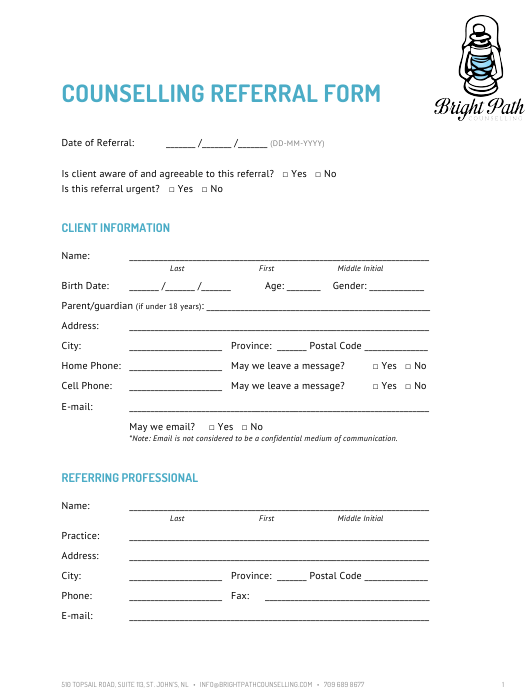 """""""Counselling Referral Form - Bright Path Counselling"""" Download Pdf"""