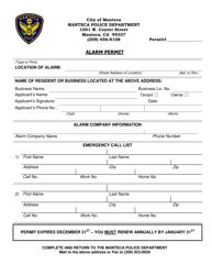 """Alarm Permit Form"" - City of Manteca, California"