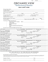 """""""New Client Form - Orchard View Veterinary Center"""""""