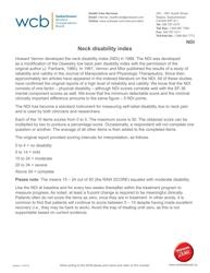 Neck Pain Disability Index (Vernon-Mior) Form - Wcb - Saskatchewan Canada