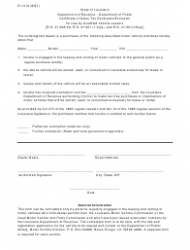 Form R-1310 Certificate of Sales Tax Exemption Exclusion for Use by Qualified Vehicle Lessors - Louisiana