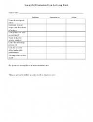 Self Evaluation Form For Group Work