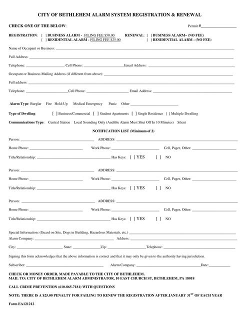 Form EA 121212 Download Printable PDF, Alarm System