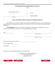 Form AO 249 Drug Offender's Reinstatement of Federal Benefits